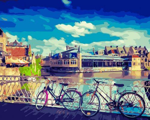 Картина по номерам 40x50 Пара велосипедов у ограждения моста