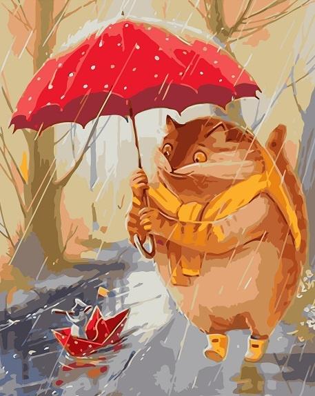 Картина по номерам 40x50 Кот под зонтом и мышонок