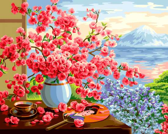 Картина по номерам 40x50 Сакура на фоне горы и моря