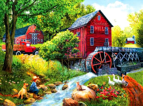 Картина по номерам 40x50 Водяное колесо у реки