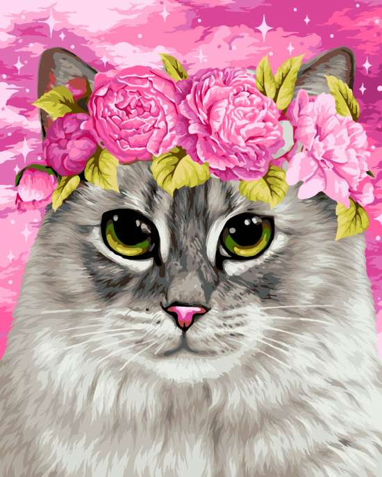 Картина по номерам 40x50 Кошечка с венком из пионов